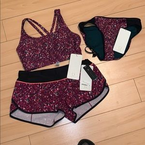BNWT 3 Pce lulu swim suit size 6 and 8 💗💜